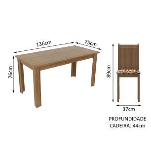 Conjunto Sala de Jantar Rosie Madesa Mesa Tampo de Madeira com 4 Cadeiras - Rustic/Bege Marrom