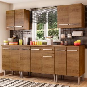 Cozinha Completa Madesa Emilly King com Balcão e Armário - Rustic
