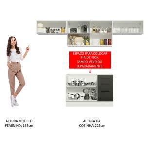 Cozinha Compacta Madesa Agata 280002 com Armário e Balcão - Branco/Preto