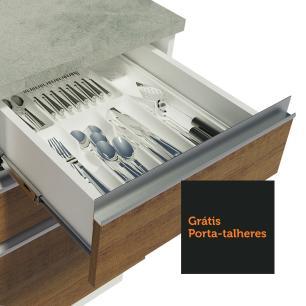 Balcão de Pia Madesa Glamy 120 cm 2 Portas e 3 Gavetas (Com Tampo) - Branco/Rustic