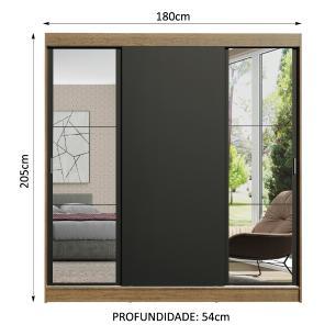 Guarda-Roupa Casal Madesa Reno 3 Portas de Correr com Espelhos - Rustic/Preto