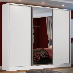 Guarda Roupa Casal 100% MDF Madesa Zurique 3 Portas de Correr com Espelho - Branco