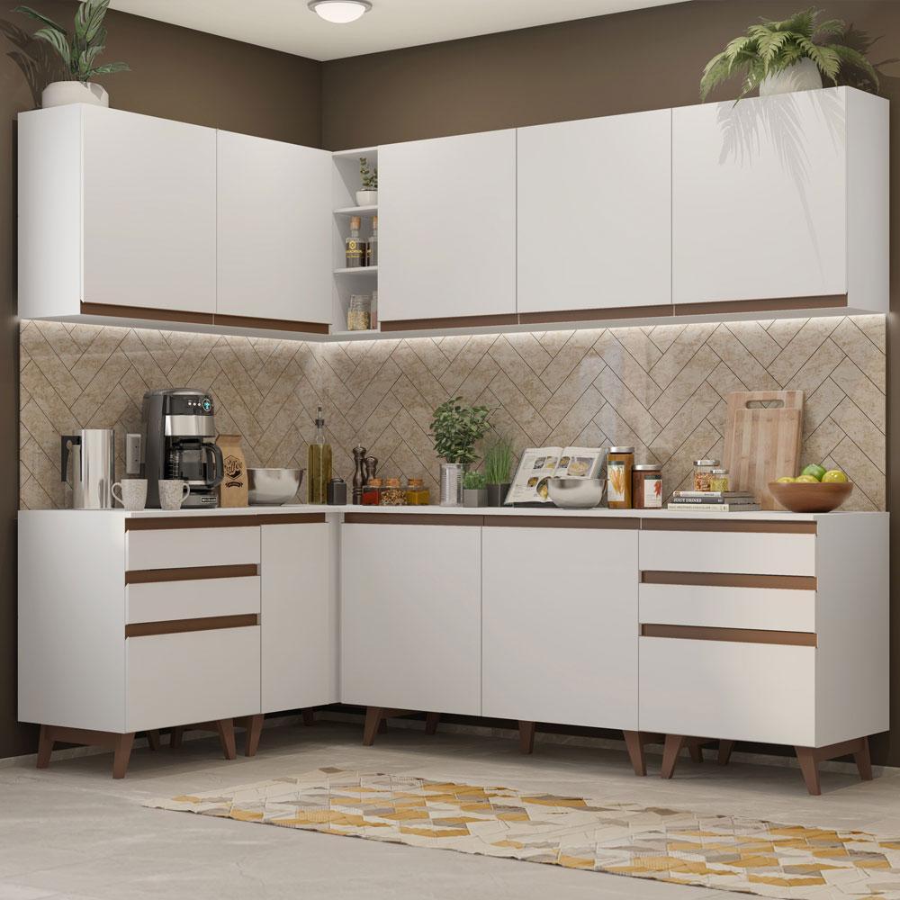 Cozinha Completa de Canto Madesa Reims 382002 com Armário e Balcão - Branco