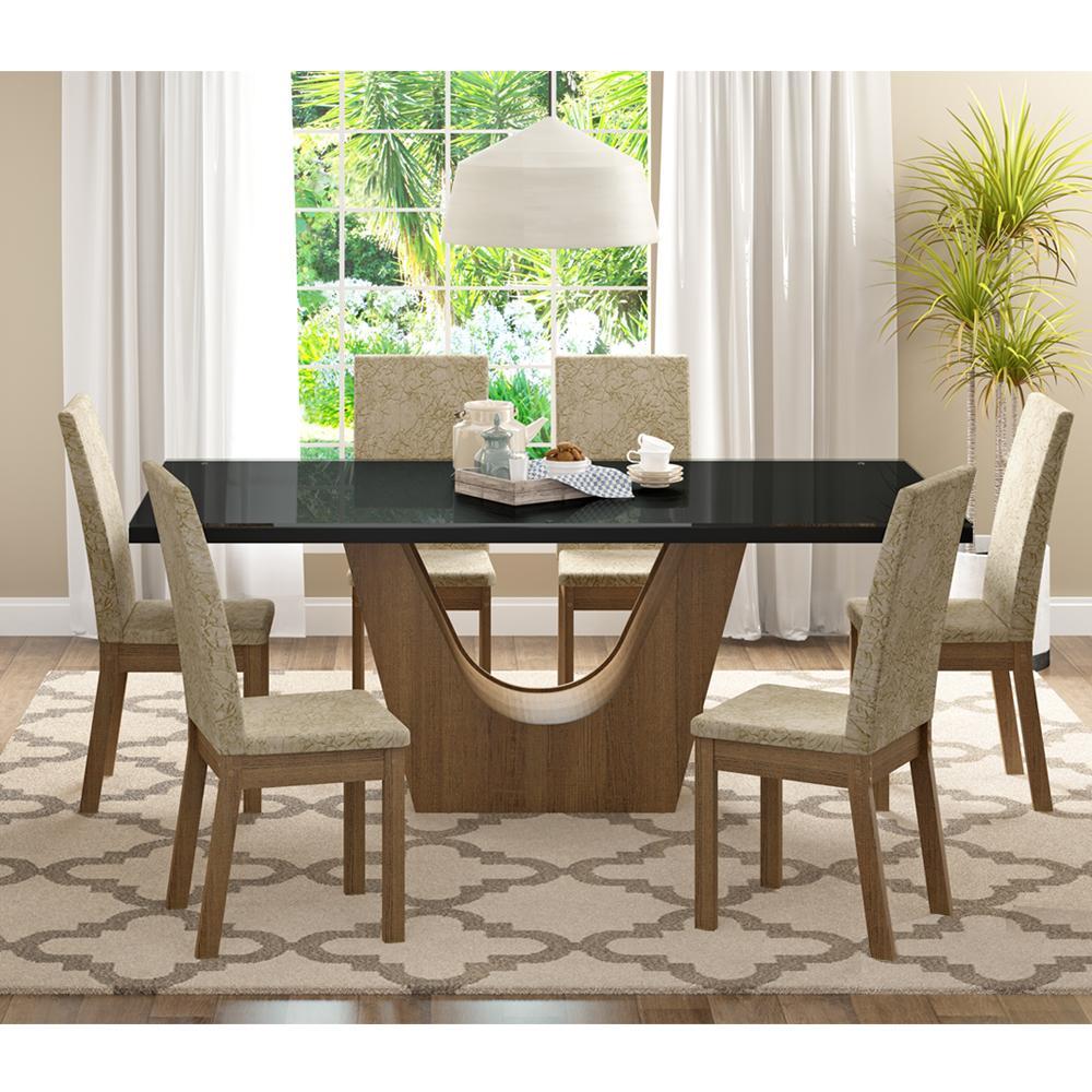 Conjunto Sala de Jantar Madesa Úrsula Mesa Tampo de Vidro com 6 Cadeiras