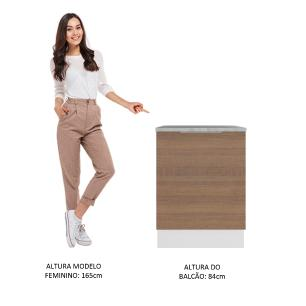 Balcão Madesa Stella 60 cm 1 Porta - Branco/Rustic