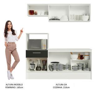 Cozinha Compacta Madesa Onix 180001 com Armário e Balcão - Branco/Preto