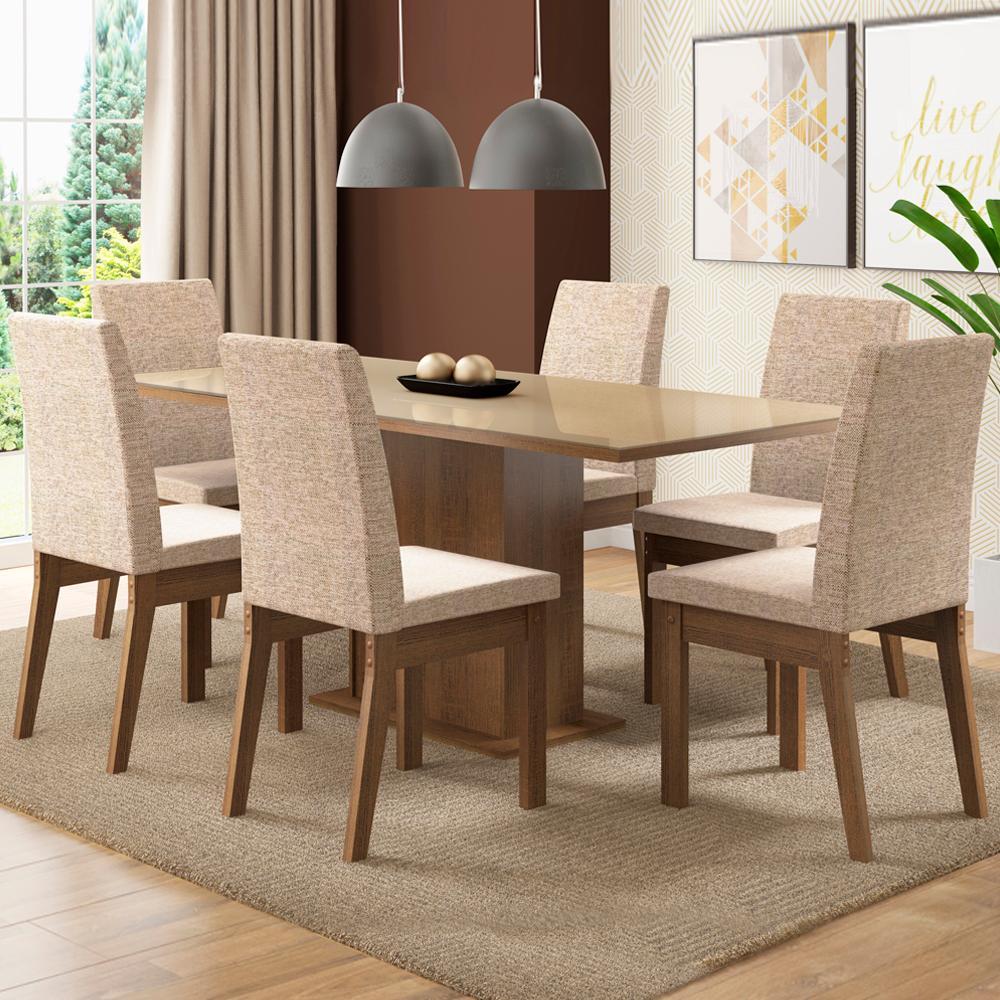 Conjunto Sala de Jantar Madesa Aurora Mesa Tampo de Vidro com 6 Cadeiras