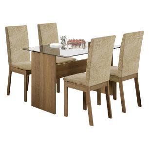 Conjunto Sala de Jantar Vitória Madesa Mesa Tampo de Vidro com 4 Cadeiras