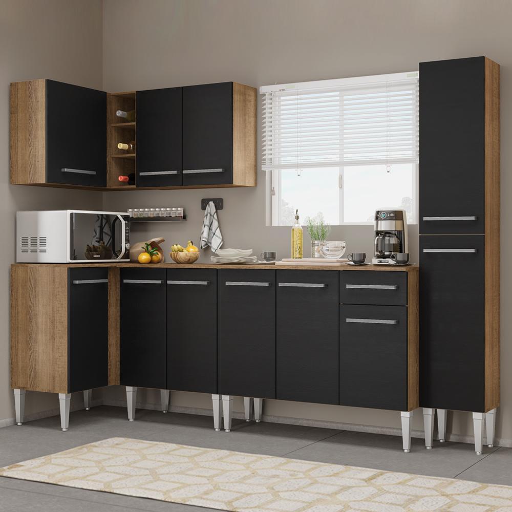 Cozinha Completa de Canto Madesa Emilly Water com Armário, Balcão e Paneleiro - Rustic/Preto