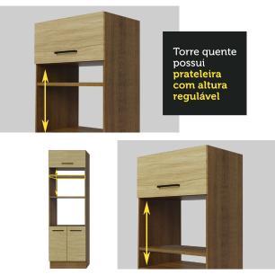 Cozinha Completa Madesa Agata 310001 com Armário e Balcão (Sem Tampo e Pia) - Rustic/Carvalho