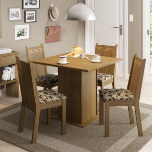 Conjunto Sala de Jantar Kate Madesa Tampo de Madeira com 4 cadeiras