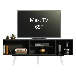 Rack Madesa Cairo para TV até 65 Polegadas com Pés de Madeira - Preto/Branco/Branco