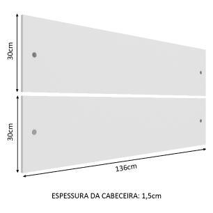 Cabeceira Madesa 2611 para Cama de Solteiro com Painel Duplo