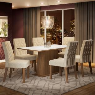 Conjunto Sala de Jantar Madesa Daniela Mesa Tampo de Madeira com 6 Cadeiras