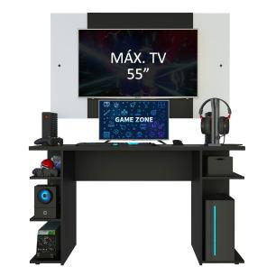 Mesa para Computador Gamer Madesa 9409 e Painel para TV até 58 Polegadas - Preto/Branco