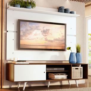 Rack Madesa Dubai e Painel para TV até 65 Polegadas com Pés - Rustic/Branco 6E09