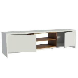 Rack para TV até 75 Polegadas Madesa Metz 180 cm 2 portas - Branco/Rustic