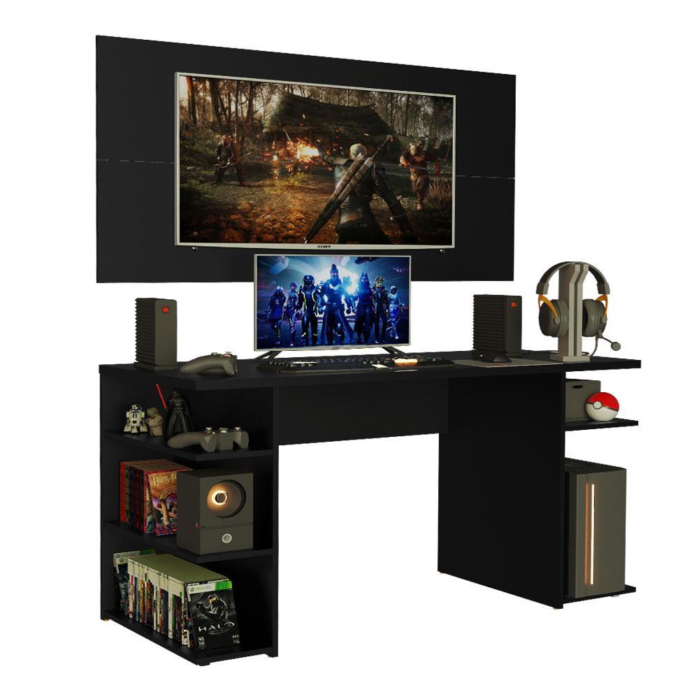 Mesa Gamer Madesa 9409 e Painel para TV até 50 Polegadas - Preto