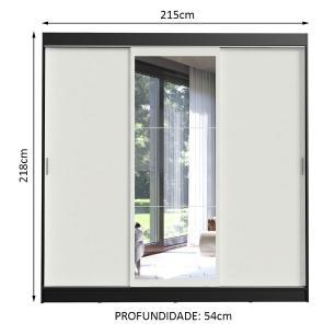 Guarda-Roupa Casal Madesa Istambul 3 Portas de Correr com Espelho 3 Gavetas - Preto/Branco