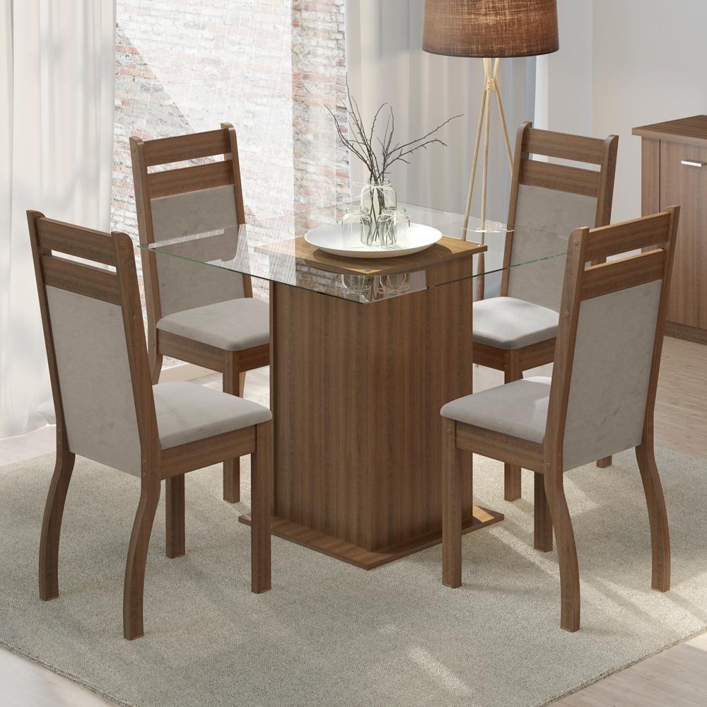 Conjunto Sala de Jantar Dijon Madesa Mesa Tampo de Vidro com 4 Cadeiras
