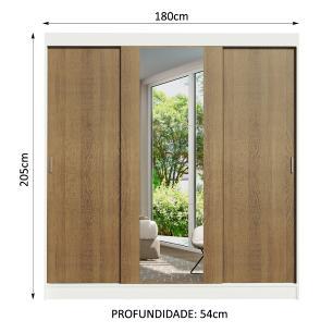 Guarda-Roupa Casal Madesa Reno 3 Portas de Correr com Espelho - Branco/Rustic