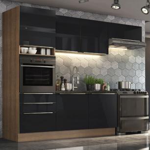 Cozinha Completa Madesa Lux com Armário e Balcão 6 Portas 3 Gavetas - Rustic/Preto