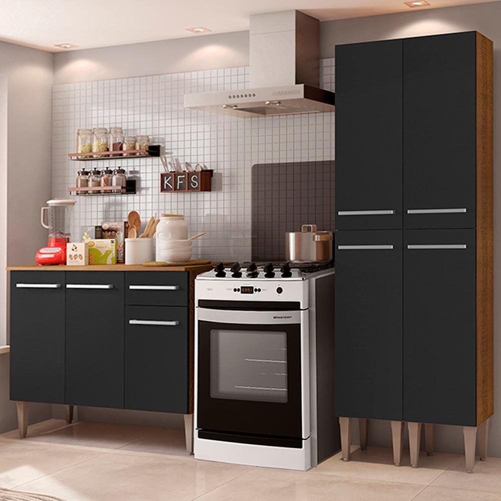 Cozinha Compacta Madesa Emilly Front com Balcão e Paneleiro - Rustic/Preto