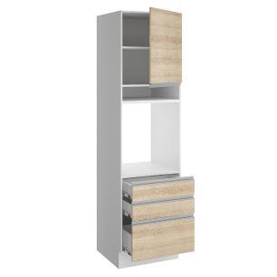 Torre Quente Madesa Glamy 60 cm 1 Porta 3 Gavetas - Branco/Saara