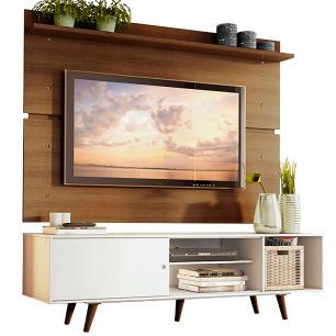 Rack Madesa Dubai e Painel para TV até 65 Polegadas com Pés - Branco/Rustic 095Z