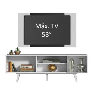 Rack Madesa Dubai com Pés e Painel para TV até 58 Polegadas - Branco/Preto 73C7