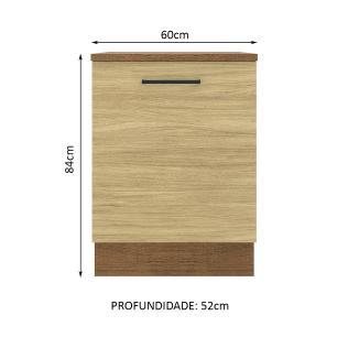 Balcão Madesa Agata 60 cm 1 Porta - Rustic/Carvalho