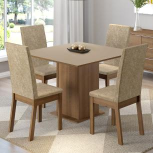 Conjunto Sala de Jantar Madesa Madri Mesa Tampo de Madeira com 4 Cadeiras