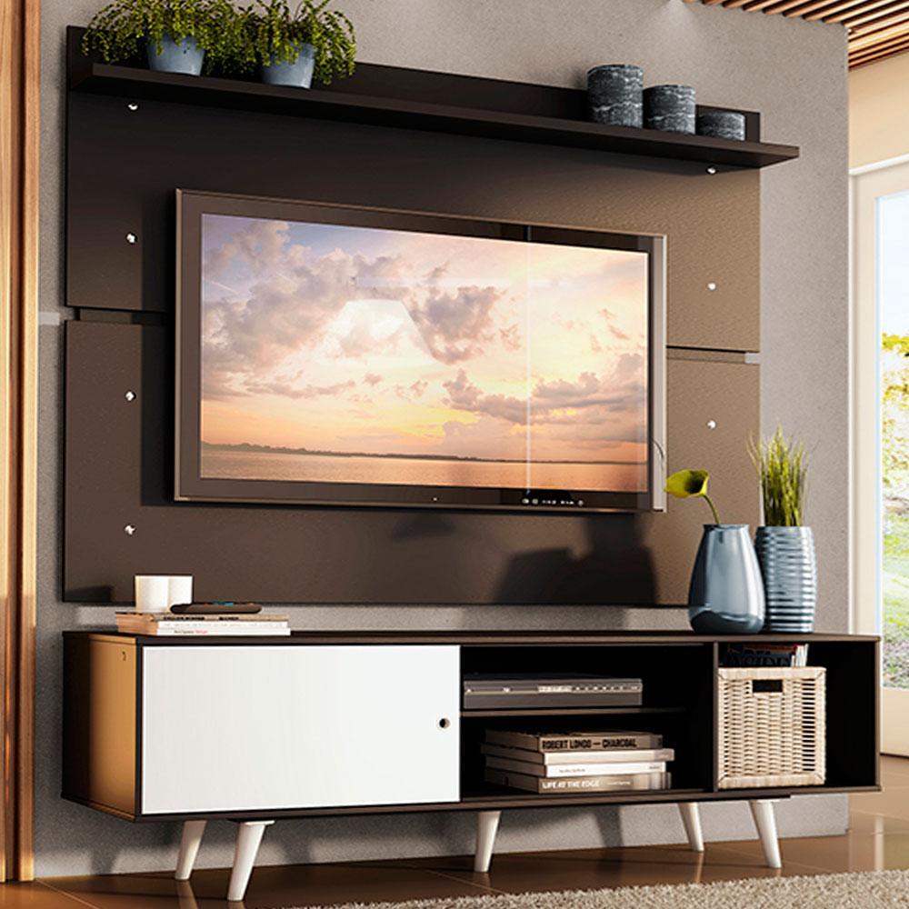 Rack Madesa Dubai e Painel para TV até 65 Polegadas com Pés - Preto/Branco 7777