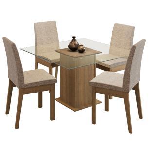 Conjunto Sala de Jantar Madesa Luma Mesa Tampo de Vidro com 4 Cadeiras