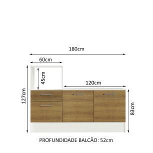 Balcão Madesa Onix 180 cm 3 Portas 1 Gaveta e Nicho para Forno - Branco/Rustic