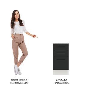 Balcão Madesa Agata 40 cm 3 Gavetas - Branco/Preto