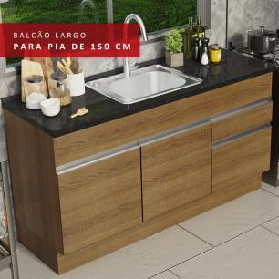 Balcão de Pia Madesa Glamy 150 cm 2 Portas e 2 Gavetas (Sem Tampo e Pia) - Rustic