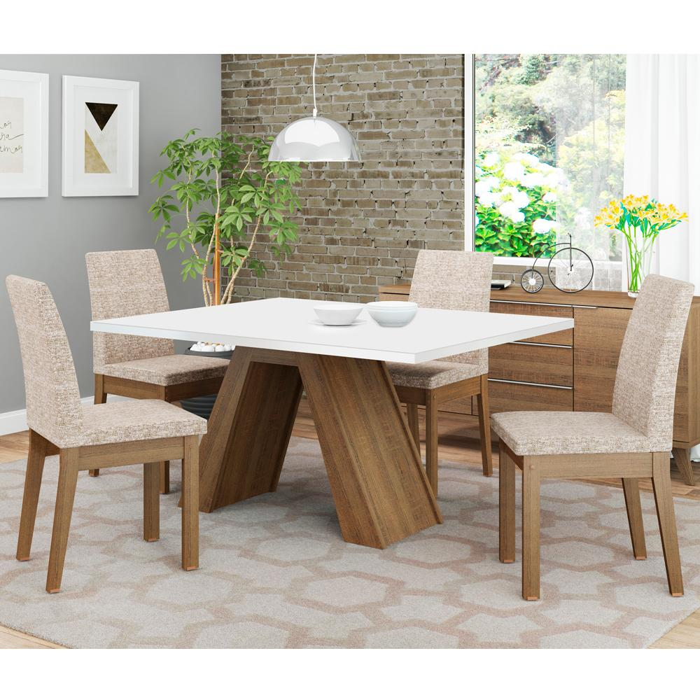 Conjunto Sala de Jantar Madesa Liz Mesa Tampo de Madeira com 4 Cadeiras