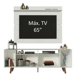 Rack Madesa Cancun com Pés e Painel para TV até 65 Polegadas - Branco/Rustic 9B9B