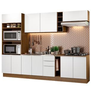 Cozinha Completa Madesa Stella 290001 com Armário e Balcão - Rustic/Branco