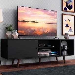 Rack Madesa Dubai para TV até 65 Polegadas com Pés - Preto/Rustic