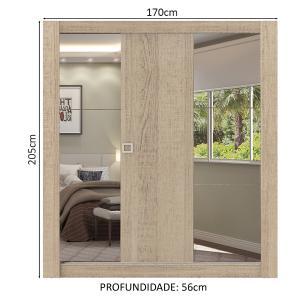 Guarda-Roupa Casal Madesa City 3 Portas de Correr com Espelhos