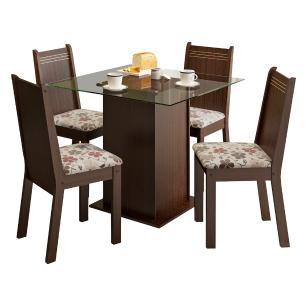 Conjunto Sala de Jantar Madesa Lucy Mesa Tampo de Vidro com 4 Cadeiras