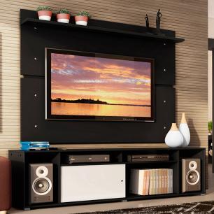 Rack Madesa Cancun e Painel para TV até 65 Polegadas - Preto/Preto/Branco