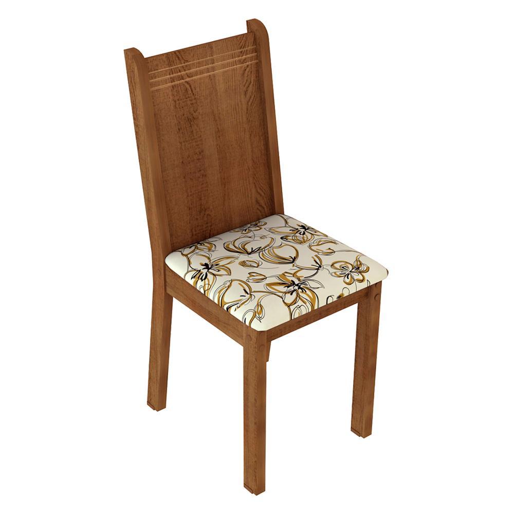 Kit 4 Cadeiras de Jantar 4290 Madesa Rustic/Lírio Bege