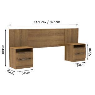 Cabeceira Extensível Madesa com 2 Mesas Laterais - Rustic
