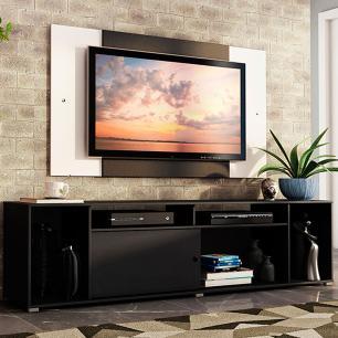 Rack Madesa Cancun e Painel para TV até 58 Polegadas - Preto/Branco 8N73