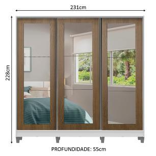 Guarda-Roupa Casal Madesa Eros 3 Portas de Correr de Espelho com Pés - Branco/Rustic