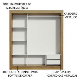 Guarda-Roupa Casal Madesa Lyon 3 Portas de Correr com Espelhos 2 Gavetas - Rustic/Carvalho