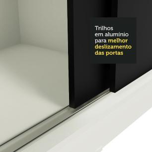 Guarda-Roupa Casal Madesa Istambul 3 Portas de Correr com Espelhos 3 Gavetas - Branco/Preto
